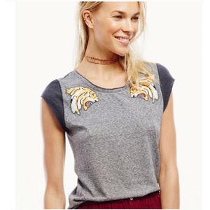 Free People Jungle Cat Tee Heathered Gray Tiger S